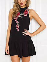 Women's Going out Sheath Dress,Floral Halter Mini Sleeveless Polyester Summer Mid Rise Micro-elastic Medium