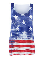 Women's Going out Beach Holiday Sexy Simple Street chic Fashion Classic All Match Spring Summer Tank TopStriped Print Star U Neck Sleeveless  Medium