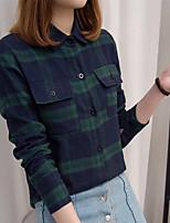 Для женщин На каждый день Рубашка Воротник-стойка,Простое Полоски Длинный рукав,Хлопок,Тонкая