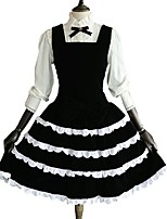One-Piece/Dress Blouse/Shirt Rococo Cosplay Lolita Dress Solid Long Sleeve Knee-length Blouse Dress For Cotton