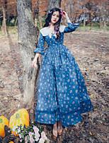 Una Sola Pieza/Vestidos Lolita Clásica y Tradicional Inspiración Vintage Elegant Princesa Cosplay Vestido  de Lolita Azul PiscinaFloral