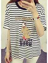 Women's Beach Cute T-shirt,Striped Print Round Neck Short Sleeve Cotton
