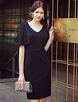DABUWAWA Women's Casual/Daily Work Party Vintage Street chic Sophisticated Shift Sheath Little Black Cape DressSolid V Neck Above Knee Short Sleeve