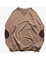 Men's Casual/Daily Simple Sweatshirt Solid Color Block Pure Color Round Neck Micro-elastic Cotton Long Sleeve Spring Fall
