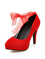 Women's Heels Spring Fall Formal Shoes Leatherette Outdoor Office & Career Party & Evening Dress Stiletto Heel Bowknot Red Black