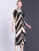 Women's Going out Casual/Daily Party Sophisticated Sheath Dress,Striped V Neck Midi Short Sleeve Polyester Summer Mid Rise Inelastic Thin