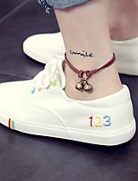 Damen-Flache Schuhe-Lässig-PU-Blockabsatz-Fersenriemen-Weiß Schwarz