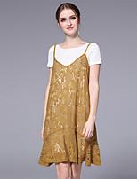 Damen Blumen Niedlich Ausgehen Lässig/Alltäglich T-Shirt-Ärmel Kleid Anzüge,Rundhalsausschnitt ½ Ärmel Spitze strenchy