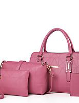 Feminino Conjuntos de saco Couro Ecológico Todas as Estações benzóico Ao Ar Livre Shopper zíper Azul Preto Vermelho Rosa Bege
