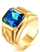 Массивные кольца Кольцо Rock Euramerican Мода Панк По заказу покупателя Хип-хоп Титановая сталь В форме квадрата Красный Синий Бижутерия