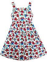 Girls Fashion Dress Colorful Flower Print Cotton Dresses Summer Party Princess Holiday Kids Clothing