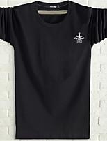 Masculino Camiseta Casual Simples Outono,Geométrica Algodão Gola Redonda Manga Longa