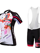 Cycling Jersey with Bib Shorts Women's Short Sleeve Bike Bib Tights JerseyQuick Dry Anatomic Design Ultraviolet Resistant Moisture