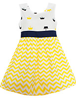 Girls Dress Fashion Yellow Wave Crown Dresses Party Birthday Princess Children Clothes