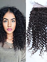 Peruvian Kinky Curly Lace Closure 4x4 Free/Middle/Three Part Medium Brown French Lace Bleached Knots With Baby Hair