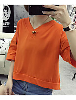 Women's Casual/Daily Simple T-shirt,Solid Round Neck Short Sleeve Cotton