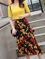 Women's Going out Casual/Daily Work Sexy Simple Cute T-shirt Skirt Suits,Solid Floral Notch Lapel