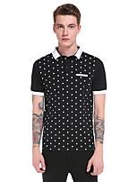Men's Casual/Daily Work Sports Simple Active Summer Polo,Polka Dot Striped Color Block Shirt Collar Short Sleeve Cotton Rayon Thin