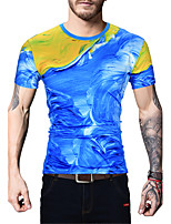 Masculino Camiseta Para Noite Casual Férias Simples Moda de Rua Activo Primavera Verão,Estampado Algodão Poliéster Decote RedondoManga