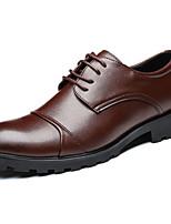 Черный Коричневый-Для мужчин-Повседневный-Полиуретан-На плоской подошве-Формальная обувь-Туфли на шнуровке