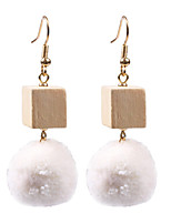Lureme Unique Design Handmade Wood Cubic and Pom Pom Dangle Earrings with Fishhook