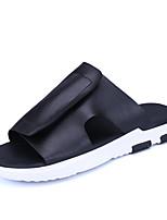 Men's Slippers & Flip-Flops Summer Light Soles Cowhide Casual Split Joint Black White Walking