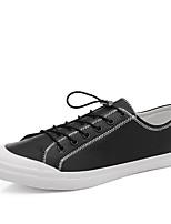 Черный Серый-Для мужчин-Для прогулок Повседневный Для занятий спортом-Дерматин-На плоской подошве-Удобная обувь-Кеды