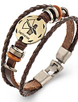 Unsex Vintage Sagittarius Weave Leather Bracelet   Jewelry For Daily 1 pc