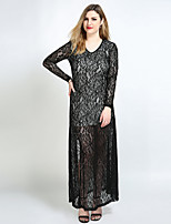 Really Love Women's Plus Size Party Club Sexy Vintage Street chic Shift Sheath Lace Dress,Color Block V Neck Maxi Long Sleeve Polyester SpandexAll