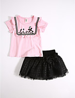 Girls' Casual/Daily Solid Sets,Cotton Summer Clothing Set