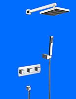 Современный На стену Дождевая лейка Ручная лейка входит в комплект with  Керамический клапан Две ручки Четыре отверстия for  Хром ,