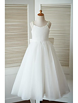 A-line Ankle-length Flower Girl Dress - Lace Tulle Straps with Beading Bow(s)