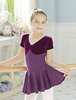 Ballet Dresses Kid's Training Cotton Spandex 1 Piece Short Sleeve