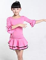 Latin Dance Kid's Fiber 1 Piece Half Sleeve Dress
