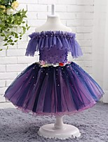 A-line Knee-length Flower Girl Dress - Tulle Off-the-shoulder with Beading Embroidery Pleats