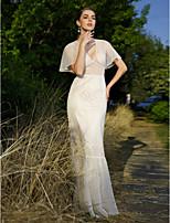 LAN TING BRIDE Trompeta / Sirena Vestido de novia - Moderno y Chic Hasta el Suelo Cuello en V Encaje con Cuentas