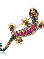 Women's Girls´ Brooches Euramerican Fashion Personalized Rhinestone Glass Alloy Crown Rainbow Black Blue Red Purple Jewelry ForWedding