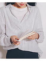 Women's Casual/Daily Simple Shirt,Striped V Neck Long Sleeve Cotton