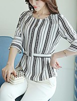 Women's Casual/Daily Cute Spring Summer Blouse,Striped Round Neck ¾ Sleeve Polyester Medium