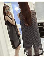 Women's Going out Simple Summer T-shirt Dress Suits,Striped Shirt Collar Sleeveless Cotton