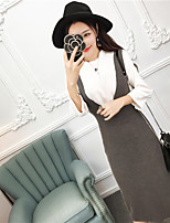 Women's Casual/Daily Simple Summer T-shirt Dress Suits,Solid Crew Neck Long Sleeve Cotton