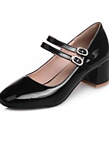 Women's Heels Spring Fall Comfort Leatherette Party & Evening Dress Casual Chunky Heel Buckle Red Black White