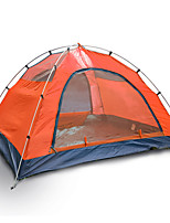 3-4 persons Tent Double Fold Tent One Room Camping Tent >3000mm Fiberglass Oxford Waterproof Portable-Hiking Camping-Orange