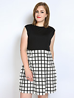 Really Love Women's Plus Size Casual/Daily Party Sexy Vintage Simple Loose Shift T Shirt Dress,Color Block Check Patchwork Round Neck Knee-length