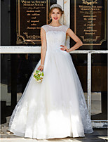 LAN TING BRIDE Balkjole Bryllupskjole - Elegant og luksuriøs Blonde Look Gulvlang Høj halset Tyl med Applikeret broderi Perler