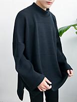 Для мужчин На каждый день Обычный Пуловер Однотонный,Хомут Длинный рукав Искусственный шёлк Весна Средняя Слабоэластичная