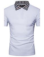 Masculino Camiseta Para Noite Casual Simples Activo Verão,Sólido Algodão Raiom Colarinho de Camisa Manga Curta Fina
