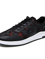 Men's Sneakers Spring Fall Light Soles PU Casual Lace-up Black/Blue Black/Red Walking
