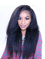 Kinky Straight Brazilian 360 Lace Frontal Wig with Baby Hair 180% Density Pre Plucked 360 Lace Wigs for African Americans Natural Hairline 8''-22''Wig