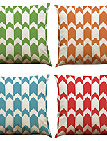 Set of 4 Creative Wave  Pattern  Linen Pillowcase Sofa Home Decor Cushion Cover